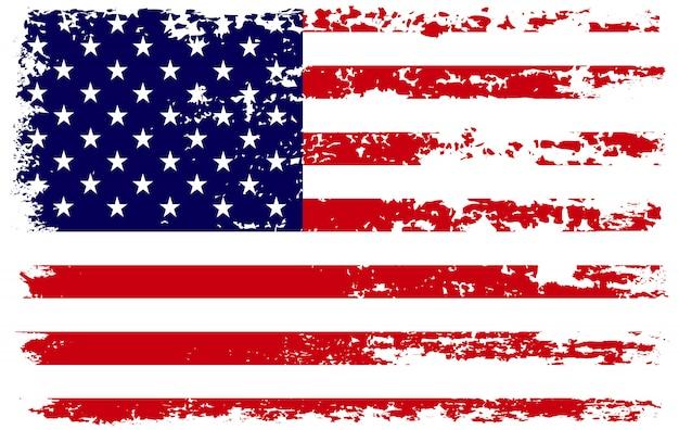 Flaga Usa Nieczysty Pociągnięciem Pędzla Premium Wektorów