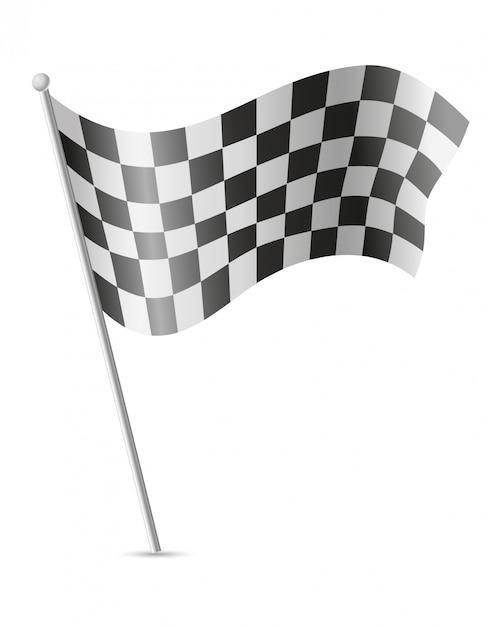 Flaga w kratkę dla ilustracji wektorowych wyścigów samochodowych Premium Wektorów