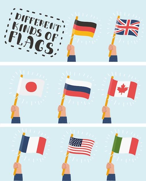 Flaga W Ręku Okrągły Zestaw Ikon. Ludzkie Ręce Trzymając Flagi Różnych Krajów, Ilustracja Premium Wektorów