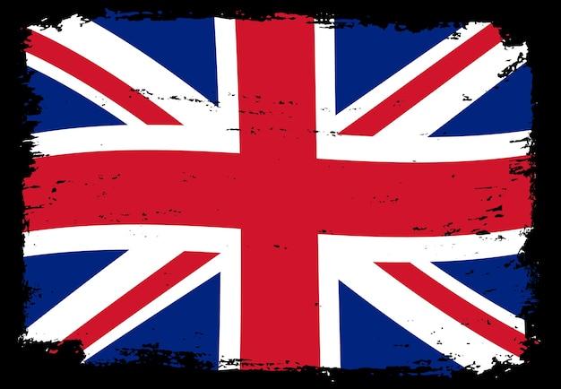 Flaga Wielkiej Brytanii Tło Grunge Premium Wektorów