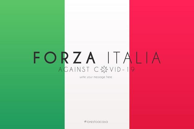 Flaga Włoch Z Komunikatem Wspierającym Przeciwko Covid-19 Darmowych Wektorów