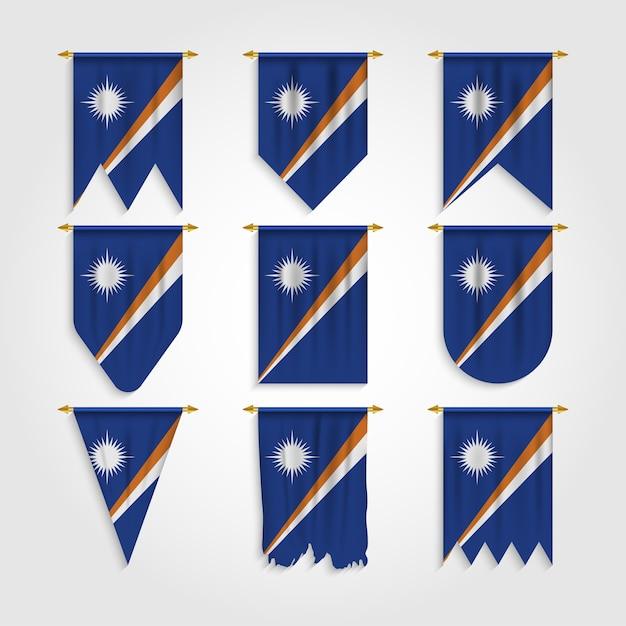 Flaga Wysp Marshalla W Różnych Kształtach, Flaga Wysp Marshalla W Różnych Kształtach Premium Wektorów