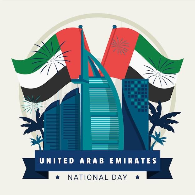 Flagi I Fajerwerki Dzień Zjednoczonych Emiratów Arabskich Darmowych Wektorów