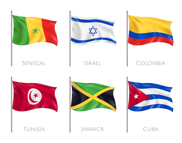 Flagi Kraju Zestaw Z Flagami Senegalu I Kuby Realistyczne Na Białym Tle Darmowych Wektorów