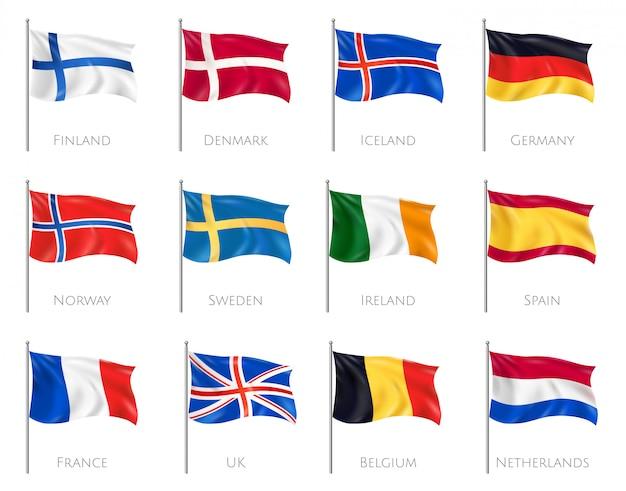 Flagi Narodowe Ustawione Z Finlandią I Danią Realistyczne Na Białym Tle Darmowych Wektorów