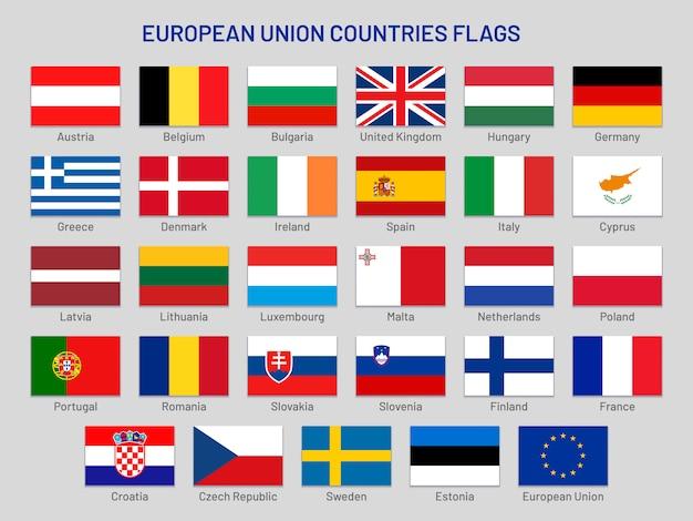 Flagi Państw Unii Europejskiej. Kraje Podróży Po Europie, Ustawiona Flaga Kraju Członkowskiego Ue Premium Wektorów
