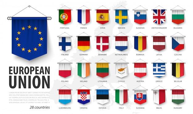 Flagi Unii Europejskiej I Członkostwo. Proporczyk Wiszący Realistyczny 3d Premium Wektorów