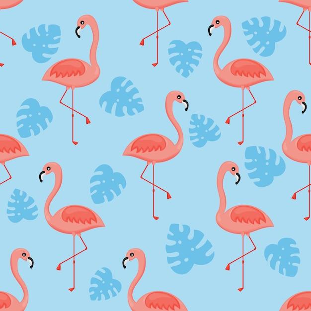 Flamingi i liść palmowy wzór Premium Wektorów