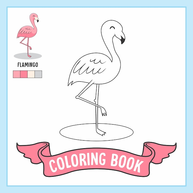 Flamingo Animals Coloring Book Pages Premium Wektorów
