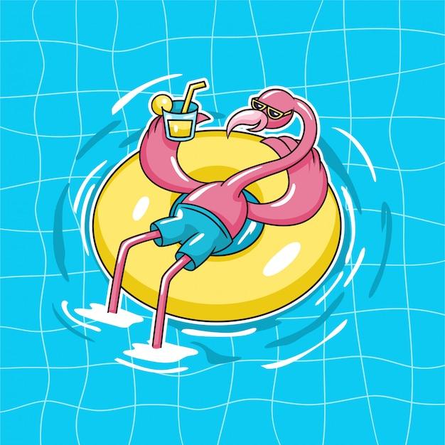 Flamingo Egzotyczny Ptak Siedzący Na Pływaku W Pączku Nosić Okulary Przeciwsłoneczne I Pić Sok Pomarańczowy Na Ilustracji Wektorowych Postaci Basenu Wody Premium Wektorów