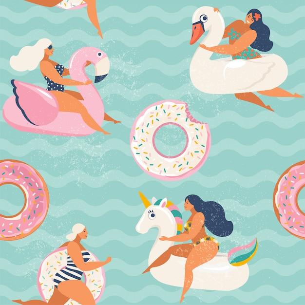 Flamingo, Jednorożec, łabędź I Słodki Pączek Nadmuchiwany Basen Pływaków. Premium Wektorów