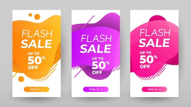 Flash Sprzedaż Banerów Z Abstrakcyjnym Płynnym Kolorze. Projekt Szablonu Sprzedaży Baner, Zestaw Promocyjny Flash Sprzedaż Premium Wektorów