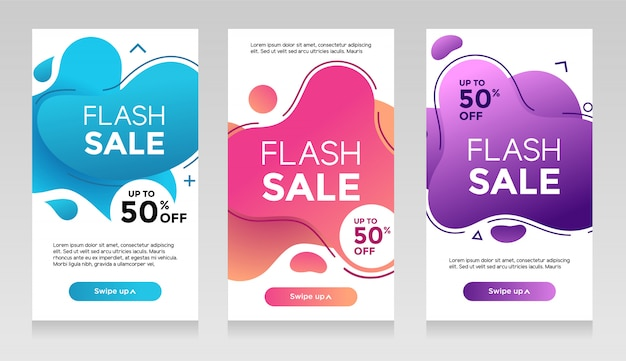 Flash Sprzedaż Banerów Z Abstrakcyjnym Płynnym Kolorze. Sprzedaż Szablonów Ulotek Sprzedażowych, Zestaw Specjalnych Ofert Sprzedaży Flash Premium Wektorów