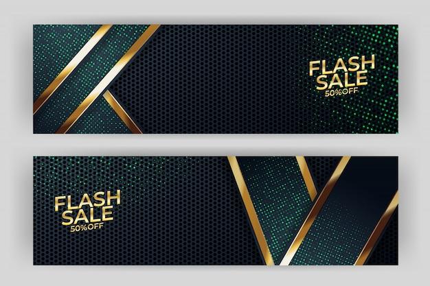 Flash sprzedaż transparent z premią w stylu złote tło Premium Wektorów