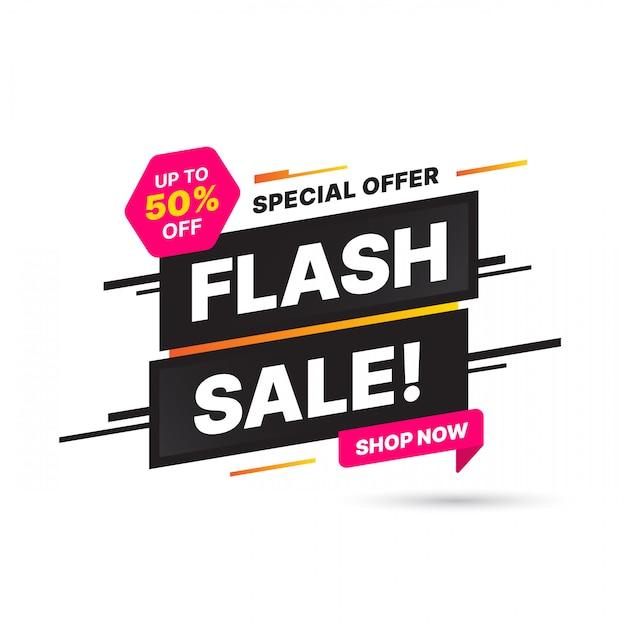 Flash Szablon Banner Sprzedaż, Oferta Specjalna Duża Sprzedaż. Banner Oferty Specjalnej Na Koniec Sezonu. Abstrakcyjny Element Graficzny Promocji Premium Wektorów