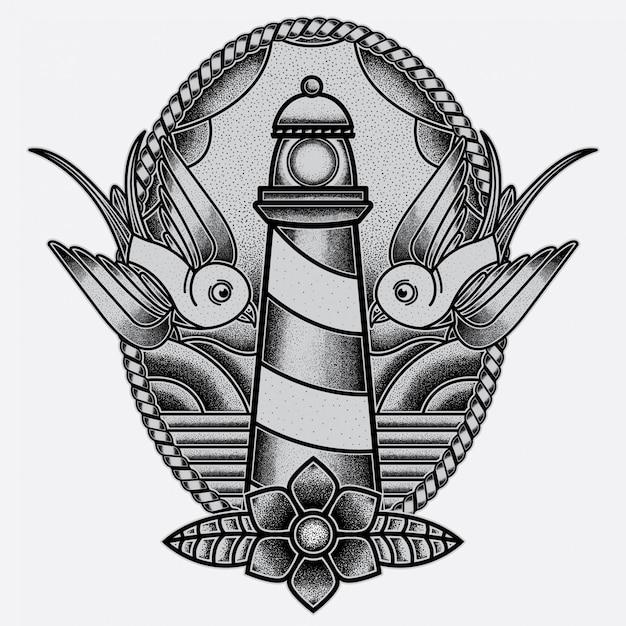 Flash Tatuaż Latarni Morskiej Premium Wektorów