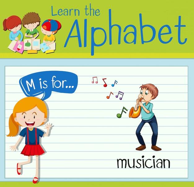 Flashcard Litera M Jest Dla Muzyka Premium Wektorów