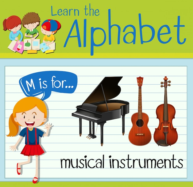 Flashcard Litera M Jest Przeznaczona Dla Instrumentów Muzycznych Premium Wektorów