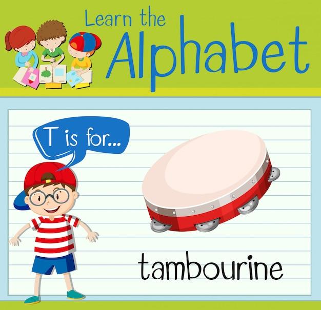 Flashcard Literka T Jest Dla Tamburyny Premium Wektorów