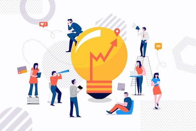 Flast Koncepcja Projektowa Grupa Biznesmenów Pracujących Dla Stworzenia Dobrego Marketingu Pomysłów Premium Wektorów
