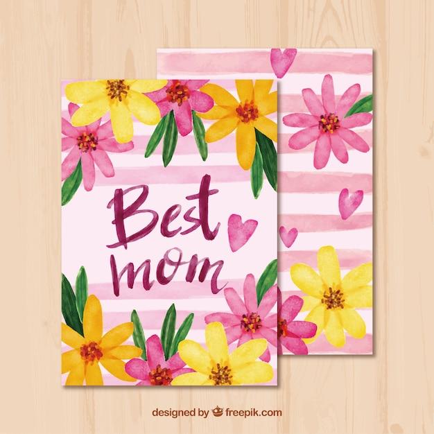 Floral Matki W Dniu Powitania W Stylu Akwarela Darmowych Wektorów