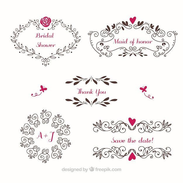 Floral ramki ślub ze szczegółami kolorów Darmowych Wektorów