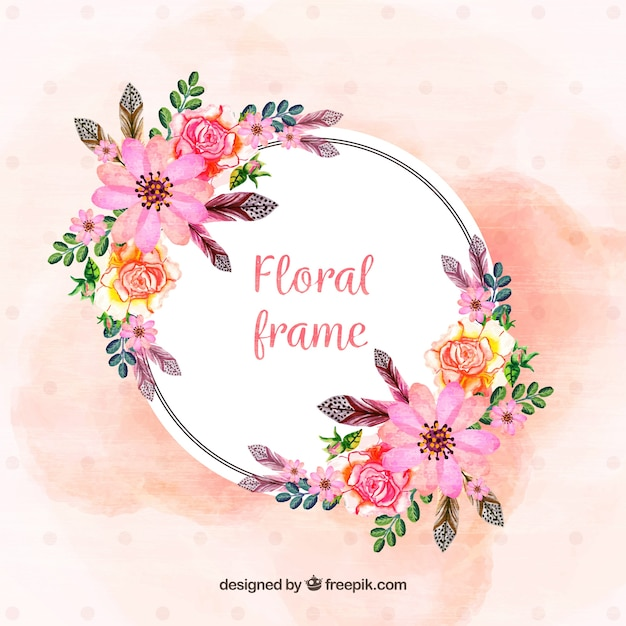 Floral ramki z ręcznie malowanymi kwiatami Darmowych Wektorów