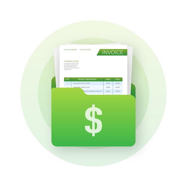 Folder Biznesowy Z Fakturą. Koncepcja Obsługi Klienta. Płatność Online. Zapłata Podatku. Szablon Faktury Premium Wektorów