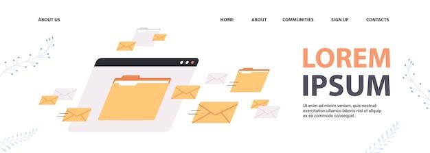 Foldery Poczta Koperty Chmura Internet Plik Danych Ikona Dokumenty Okno Przeglądarki Kopia Przestrzeń Pozioma Ilustracji Wektorowych Premium Wektorów