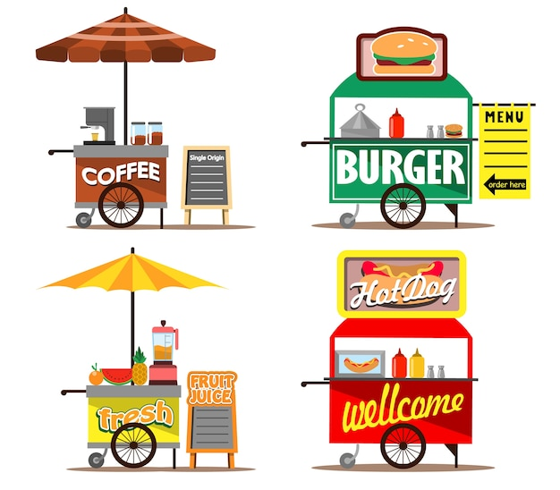 Food Street Vendors Premium Wektorów