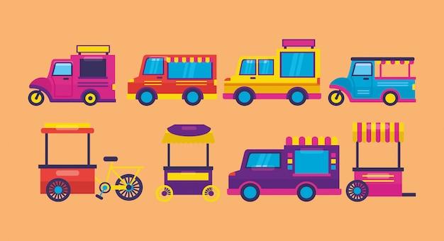 Food Trucki W Stylu Płaski Darmowych Wektorów