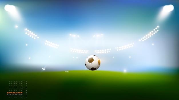 Football Arena. Stadion Sportowy Z Oświetleniem W Tle Premium Wektorów
