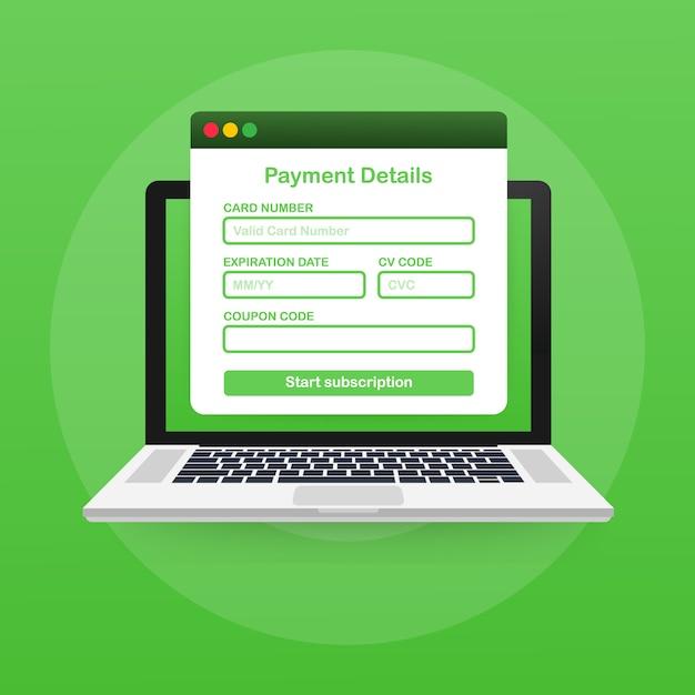 Formularz Płatności Online. Cyfrowa Faktura Online Na Szablonie Laptopa Premium Wektorów