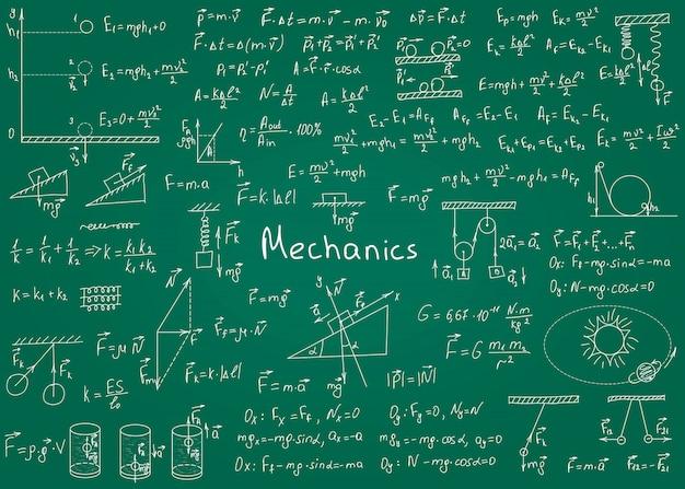 Formuły fizyki rysowane ręcznie na zielonej tablicy na tle. ilustracji wektorowych Premium Wektorów