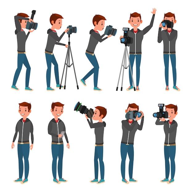 Fotograf chracter set Premium Wektorów