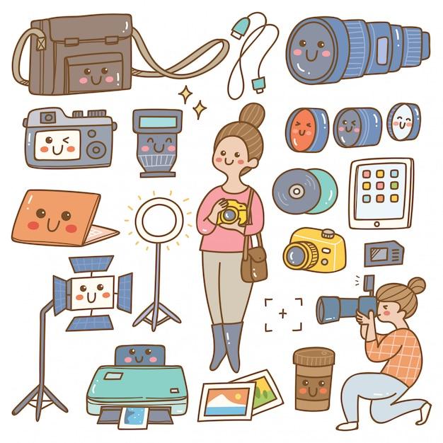 Fotograf z wyposażeniem kawaii doodle Premium Wektorów