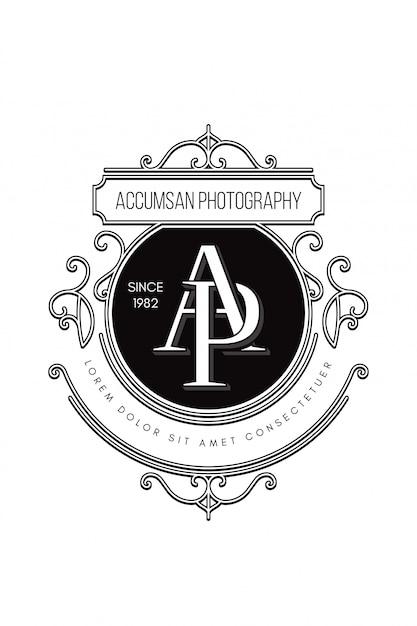 Fotografia logo monogramu ap Premium Wektorów