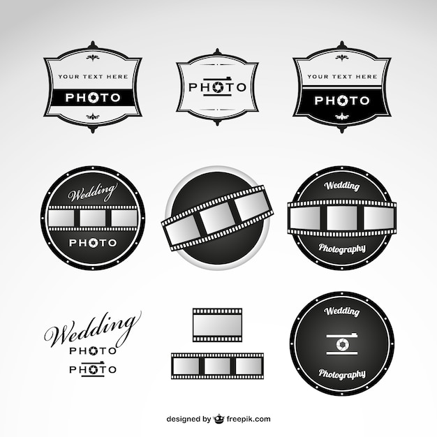 Fotografia ślubna logo szablon Darmowych Wektorów