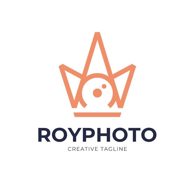Fotografia Z Migawką Aparatu Z Inspiracją Ikoną Logo Królewskiej Korony Premium Wektorów