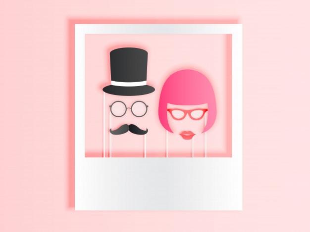 Fotografii budka rzeczy dla pary w papierowym sztuka stylu z pastelowego koloru planu wektoru illustrati Premium Wektorów