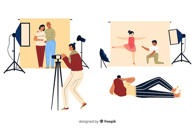 Fotografowie pracujący w studio Darmowych Wektorów