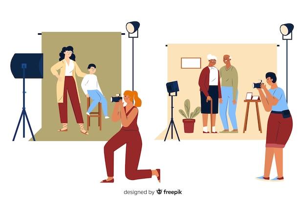 Fotografowie robią zdjęcia ludziom Darmowych Wektorów