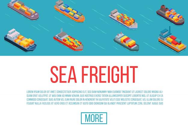 Frachtowi statki, wysyłka, doręczeniowy morze transport na błękitnej tło wektoru ilustraci. dostawa morskiej ciężarówki. szablon strony internetowej kreskówka frachtowce. Premium Wektorów