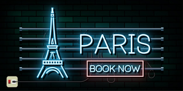 Francja i paryż podróży i podróży tle światła neonowego Premium Wektorów