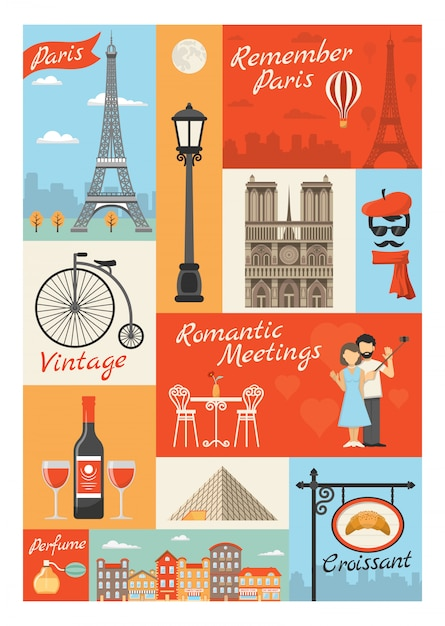 Francja paryż styl vintage ikony ilustracje Darmowych Wektorów