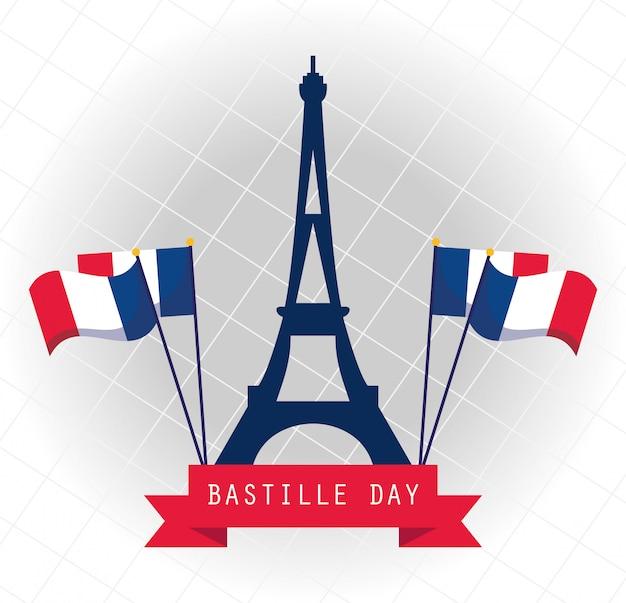 Francja Wieża Eiffla Z Flagami Szczęśliwego Dnia Bastylii Premium Wektorów