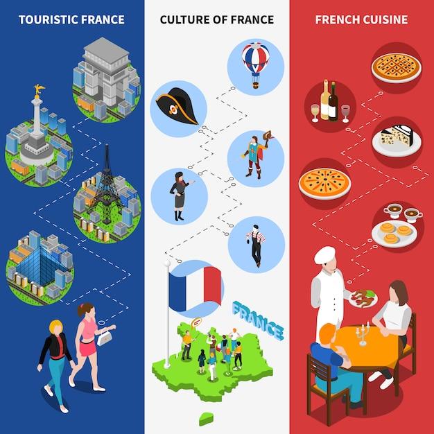Francuski flagi narodowe banery Darmowych Wektorów