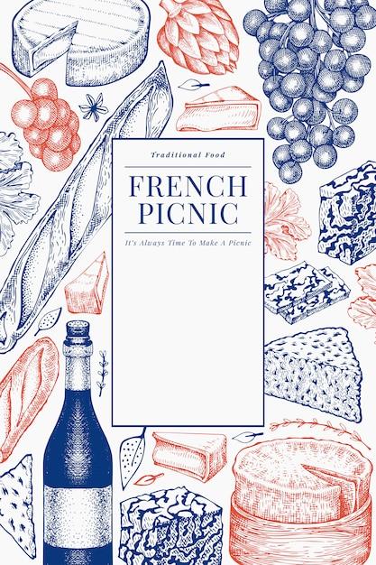 Francuskie Jedzenie Ilustracja Projektu. Ręcznie Rysowane Ilustracje Piknikowe. Grawerowane Stylu Różnych Przekąsek I Wina. Tło Vintage żywności. Premium Wektorów