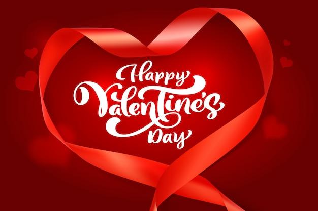 Frazy Kaligrafii Happy Valentines Day Z Siatki Serca. Premium Wektorów
