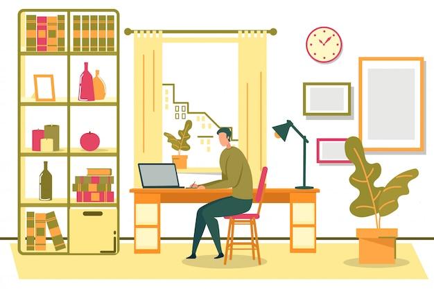 Freelancer Mężczyzna Siedzi Na Krześle Z Notebooka Premium Wektorów